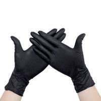 Wholesale 100 pair sets Disposable black nitrile glove anti static grease proofing tattoo dentist protection gloves Small Medium Large size Gloves
