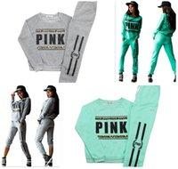 Wholesale Women Pink Pullover Tracksuit VS Hoodies Sweatshirt Pants Fashion SportWear Tracksuit VS Jogging Sport Suit Trousers Costume Sets colors
