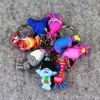 al por mayor película de los grandes regalos-30pcs mezclan la serie de la película de 8Style Trolls la mini figura modelo pendiente juguete con Keychain KeyRing gran regalo para los cabritos