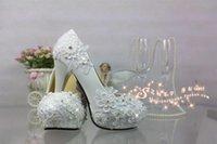 Wholesale A white lace crystal wedding shoes high heeled waterproof Taiwan custom diamond sexy shoot wedding bride shoes work performance