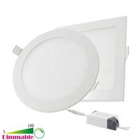 оптовых дюймовые панели-Dimmable круглая площадь Светодиодные панели 6W 9W 12W 15W 18W 21W 30W 4-5-6-7-8-9-12 Дюймовая утопленная светодиодная потолочная лампа