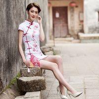 Wholesale Beautiful women fashion short embroidered retro cheongsam costume Hanfu female daily
