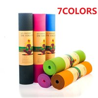 Yoga Mats TPE 6 mm (Beginner) 183x61x0.6cm None-Slip Yoga Mat TPE with Bag and Rope Double Layers Fitness Gym Exercise Mat Gymnastics MatsM002