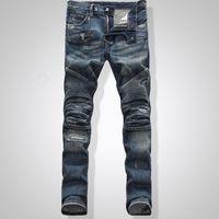 american bike - Fashion Slim Low Waist Motocross Style Skyinny Bike Jeans Elastic Regular Fit Cotton Balmain Jeans for Men