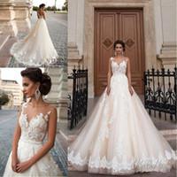 Wholesale New Princes Sexy See Through Back Wedding Dresses Arabic Milla Nova Lace Appliques Vestios De Novia Bridal Gowns with Pearls Sash Tulle