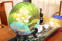 antique wood panels - Antique Chinese green WOOD lacquer Lotus Flowers Inlaid wall panel Art Decorations