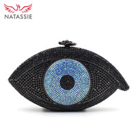 Wholesale New Most Of Fashion The Evil Eye Shape Crystal Evening Handbag Women Party Clutch Bag Ladies Dinner Purse With Chain