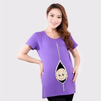 Wholesale Maternity Tops EUR Size Maternity Tees Summer Short T shirts Baby Funny Cartoon Plus Size Maternity Clothes for Pregnant Women Cotton Shirt