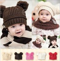 al por mayor niños del bebé de la gorrita tejida-Sombrero del invierno del bebé de la manera para los muchachos de las muchachas Los niños del ganchillo del casquillo de las gorritas tejidas de los bebés de la bola de los pompoms de la piel de la alta calidad empaquetan los sombreros hechos punto