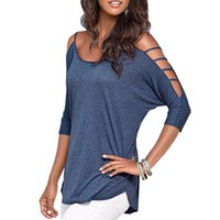 Crew Neck Batwing/Dolman Sleeve 1/2 Sleeve Summer Women Cotton T-Shirts Off Shoulder Hollow Out T-shirt Tops Lady's Solid Color O-neck Top Tees