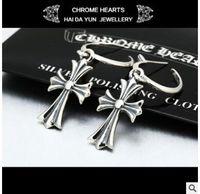 Wholesale 925 Sterling silver high end cross earrings Thai silver restoring ancient ways for women earrings Allergy free earrings