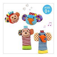 Wholesale New Animal Baby Wrist Rattles and Foot Finder Set Developmental Soft Toys Monkey and Elephant