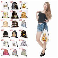 Wholesale Emoji D Printing Drawstring Bag Oxford Bags Shoulders Backpack Shopping Bags School Bags For Adult Men Women Christmas Gifts PPA694
