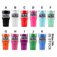 Wholesale 30oz Yeti Tumblers Rambler Tumbler Yeti Coolers Stainless Steel Bilayer Vacuum Cup Travel Vehicle Beer Mugs