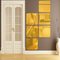 acrylic squares craft - 6pcs Acrylic Mirror Wall Stickers Square Decals Background Home Fashionable Modern Decor Diy Craft Self Adhesive Colors