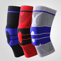 Wholesale 1pc New Men s and Women s Basketball Football Silicone Running Fitness Spring Mountaineering Outdoor Sports Knee Brace Knitting
