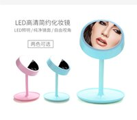 Wholesale Rechargable Touch Switch in Makeup Mirror with LED mirror and Brightness Adjustable Lamp Sky Blue Pink