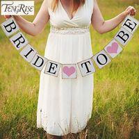 Wholesale FENGRISE Bridal Shower M Bride To Be Paper Banner Garlands Wedding Decoration Bachelorette Hen Party Bunting Events Supplies
