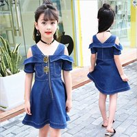 Style denim enfant Avis-2017 Summer Kids Skirt Enfant Filles Denim Robe Fashion Short Sleeve Zipper Jupes Robes Bala_bala Vêtements de bonne qualité 5 Pcs / lot B