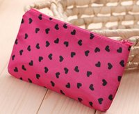 Nylon Bag Zipper MH006 women Cosmetic Cases 18.5*11cm Fashion Ms. Clutch Korea cute wash satin pouch handbag bag printing love package