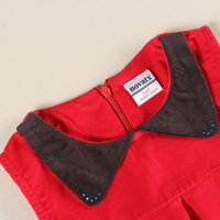 Wholesale Baby Girls Cotton Corduroy Solid Floral Embroidered Sleeveless Doll Collar Boat Neck Lolita Style Red A Line