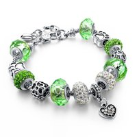Wholesale European style creative personality charm bracelet Jewelry Blue crystal alloy