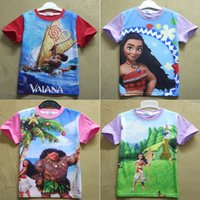 Wholesale New colors baby Moana T shirts cartoon Children Moana printing short sleeves tops Tees cotton kids shirts C1740