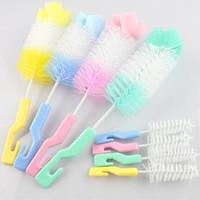 Wholesale New Degree Rotating Spin Sponge Brush Baby Milk Feeding Bottle Nipple Cleaning Scrubber Brushes XN396