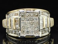baguette cut diamond - Diamond Engagement Ring K Yellow Gold Princess Round Baguette Cut Ct