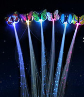 Wholesale 600pcs Butterfly LED Fiber Optic Lights up Flashing Hair Flash Barrettes Clip braids Party Christmas Supplies
