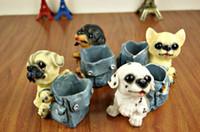 Wholesale Resin Mini Cartoon Dog Jeans Bags Brush Pot Cute Small Furnishing Articles Creative Student Pencil Vase Ornament Desk decorative gift