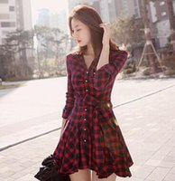 Wholesale 2016 Autumn and winter models skirt Temperament waist plaid Red lattice long sleeved dress