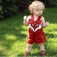Wholesale New Baby Boys Girls Toddler Cotton Summer Rompers Cartoon Fox Style Red Lovely Shorts