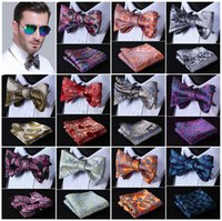 Wholesale Paisley Floral Dot Silk Jacquard Woven Men Butterfly Self Bow Tie BowTie Pocket Square Handkerchief Hanky Suit Set D5