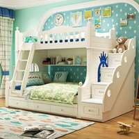 Wholesale Double bed bunk bed foot bed cluster solid wood bunk bed double bed and bed furniture for children