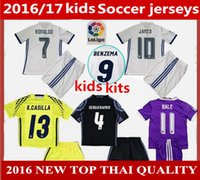 Wholesale 2016 Real madrid kids boy kit Soccer Jersey Benzema NAVAS Ronaldo Modric Kroos Sergio Ramos Bale Marcelo james goalkeeper football shirts