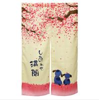 Wholesale x cm Romantic Blossom Cherry Sakura and Little Dog Japanese Noren Doorway Curtain