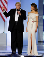 best dress celebrity - Melania Trump Special Occasion Celebrity Ball Dresses Best Looks Ivory With Ruffles and Split Sheath Pageant Gowns