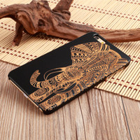 Wholesale 2017 New arrival Real Natural Black Wood Cell Phone Case for IPhone Plastic Laser Engraving covered customized wood phone cases for sales