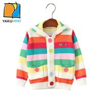 Wholesale Stripe Color Block Hoodied Girls Caedigan Single Breasted Long Sleeve Pockets Sweater Sweet Preppy Style Coats Kids Wear YAKUYIYI