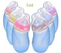 Wholesale Luz silicone anti skid explosion proof flatulence wide mouth baby glass bottle abnormal temperature baby bottle does not contain bisphenol