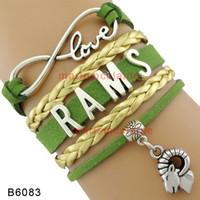 achat en gros de charmes de chèvre-(10 Pieces / Lot) Infinity Love RAMS Bracelet Sport Team Bracelet Charm Chèvre Or Vert Cuir Wrap Custom Tous les thèmes Drop Shipping
