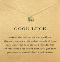 american elephants - With card cute Dogeared Necklace with elephant pendant good luck elephant noble and delicate no fade and high quality