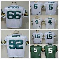 bart logo - Throwback Brett Favre RAY NITSCHKE Bart Starr reggie white Paul Hornung men football jerseys sewing Name and Logos