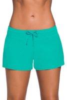 achat en gros de nager vert violet-2017 Nouveau style Femmes Swim Boardshort Pantalon décontracté avec lacets Strappy Bas de bikini pour femme Polyester + Spandex Purple Royal Blue Rosy Green