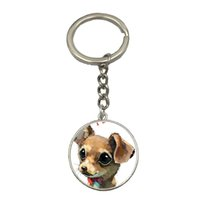 Wholesale 9 Style Cute Chihuahua Art Picture Pendant Dog Glass Dome Keychain Fashion Steampunk Jewelry Unique Women Gift Weekend Deal NS135