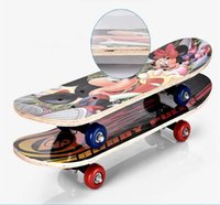 Wholesale 60 cm Age to Kids Skateboard Paint Cartoon Pattern Street Play Primary Practice Young People Maple Wood Skateboarding Outdoor Sports