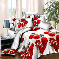 achat en gros de reines gardent-2017 Gardez les draps chauds 3D Rose Pattern 4pcs Literie Set oreiller literie Queen Size