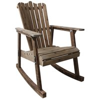 antique wood finishing - Outdoor Furniture Adirondack Chair Antique Finish Patio Resin Beach Wood Garden Armchair Leisure Lazy Adirondack Rocking Chair
