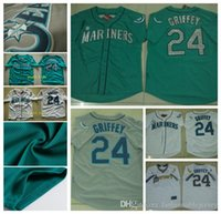 Wholesale Ken Griffey Jr Jersey Seattle Mariners Baseball Jerseys green Gray throwback White Blue mens womens Youth kids Stitched Shirt